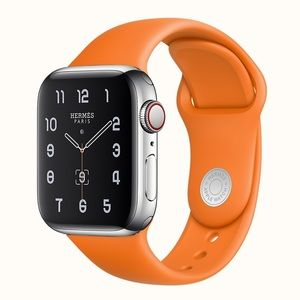 Auth Hermes Orange Apple Watch Sport Band S/M 40mm